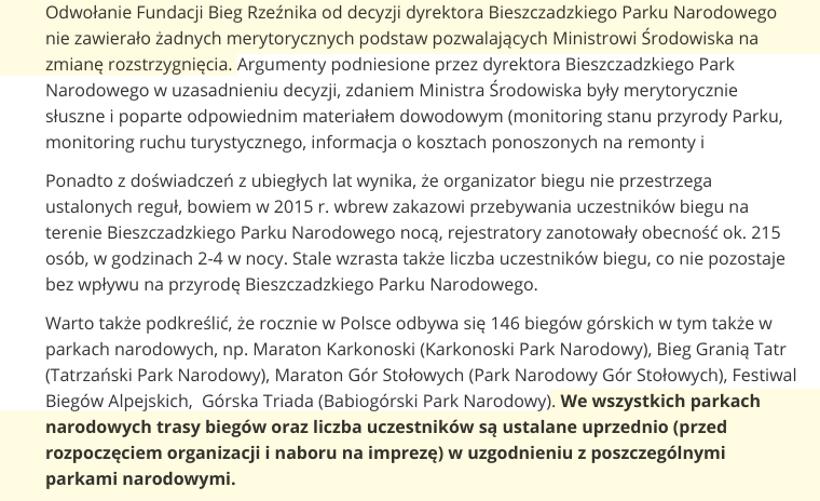 Zablokowanie Biegu Rzeźnika - odpowiedź Ministerstwa