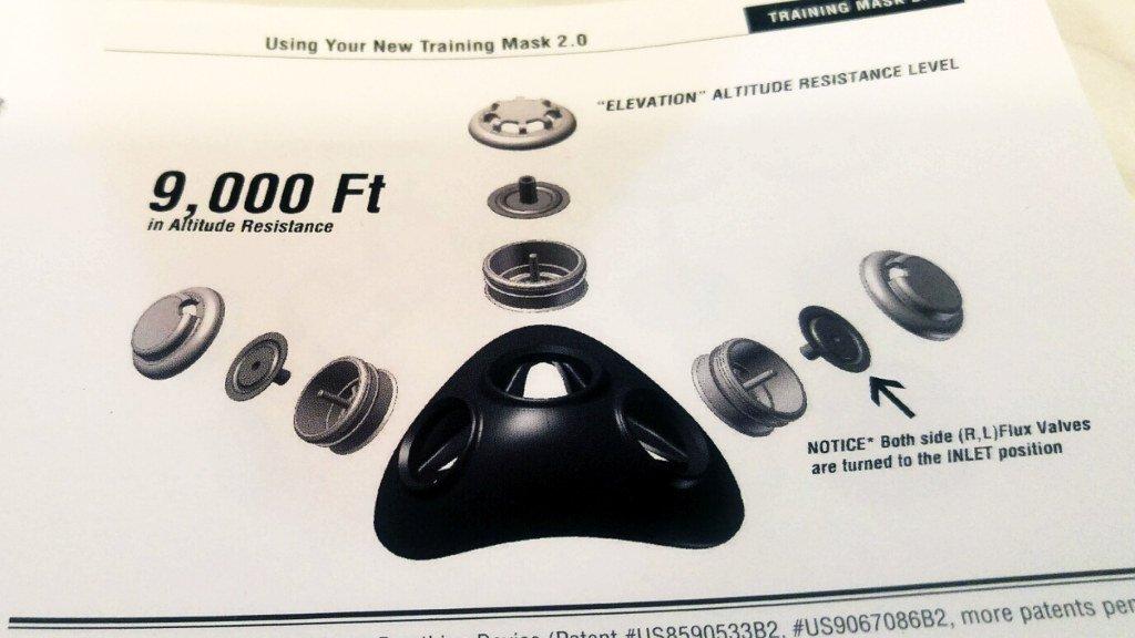 Maska treningowa - schemat montowania zaworów