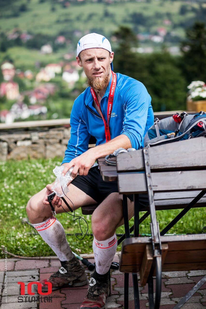 Stumilak 100 km, Andrzej na mecie, zdjęcie: Krzysztof Grabowski