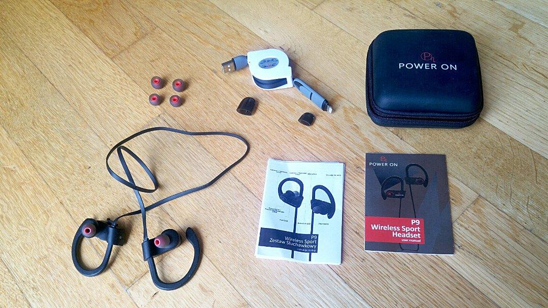 Bezprzewodowe słuchawki Power On - zawartość zestawu
