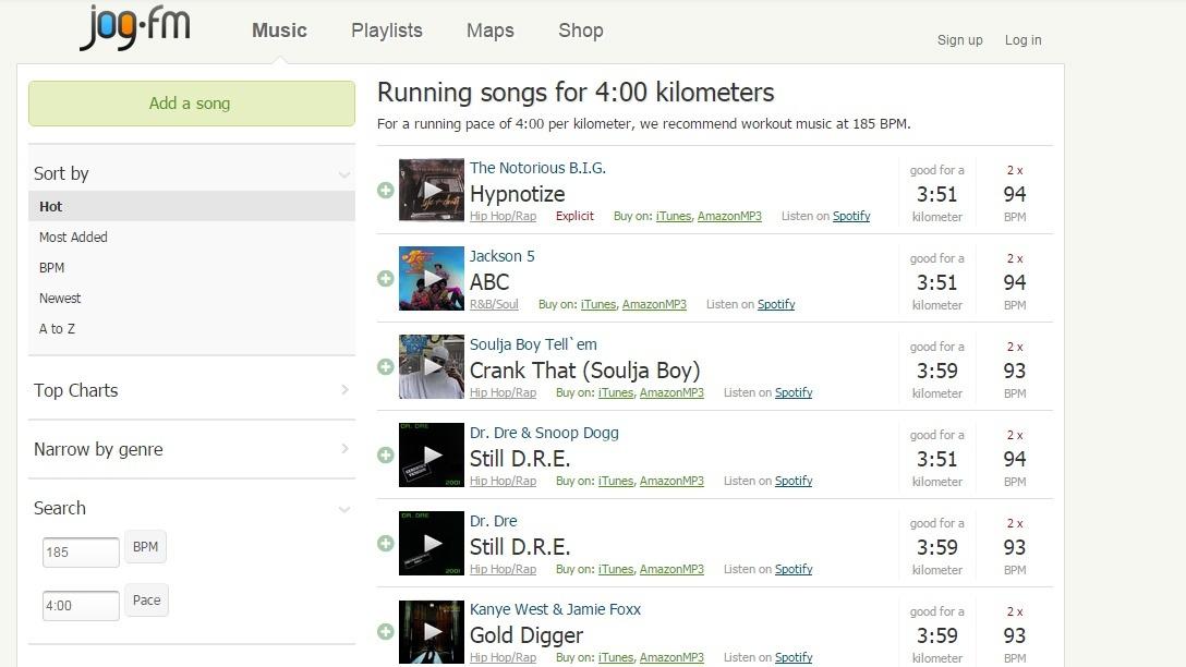 Jog.fm dopasowanie muzyki do biegania