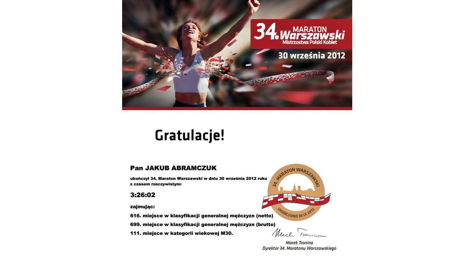 Biegacz amator - pierwszy dyplom za zakawasy
